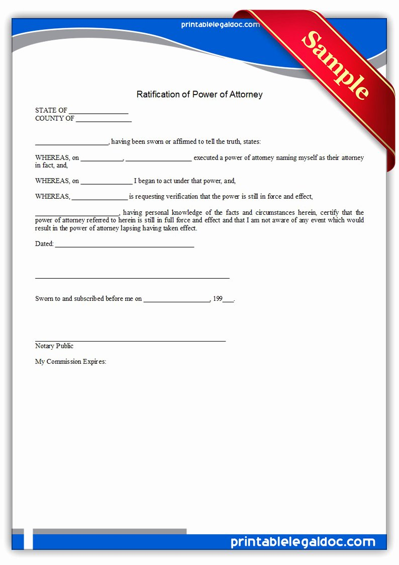 ratification of power of attorney