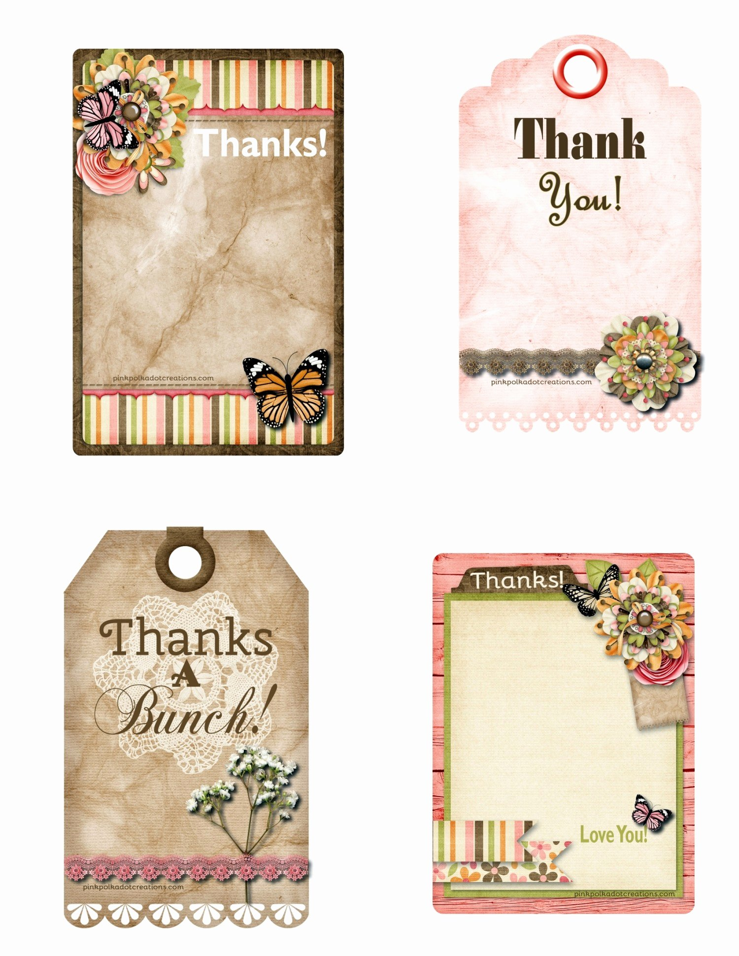 Printable Thank You Tags Elegant Printable Thank You Tags Pink Polka Dot Creations