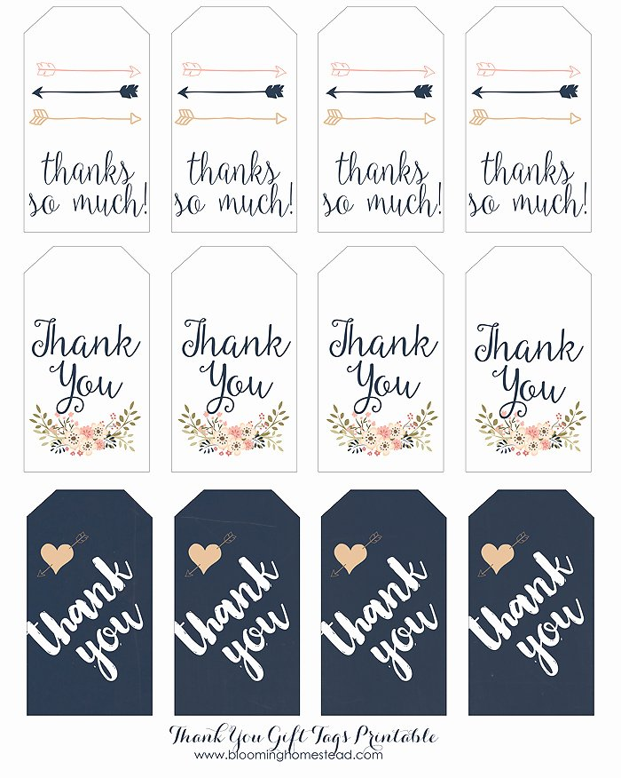 Printable Thank You Tags Elegant Thank You Gift Tags Blooming Homestead