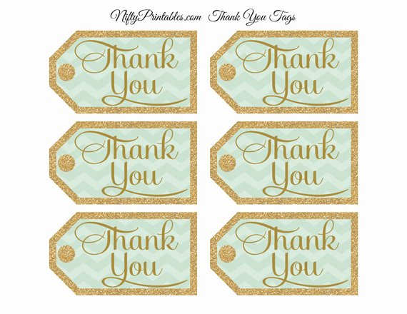 Printable Thank You Tags Fresh Mint Green Thank You Tags Chevron Rectangle Nifty