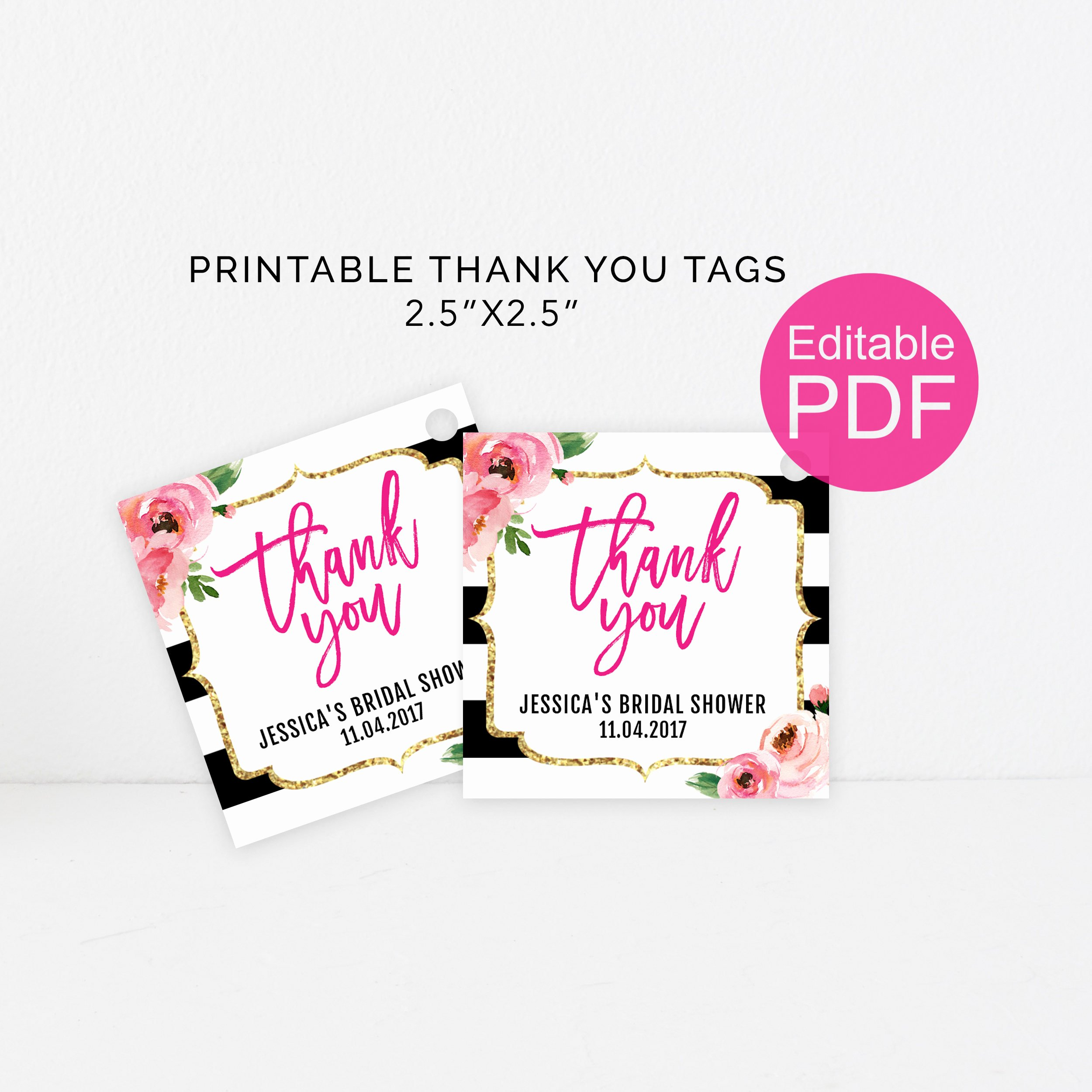 Printable Thank You Tags Lovely Kate Thank You Tags Template Diy Floral Thank You Tag Kate