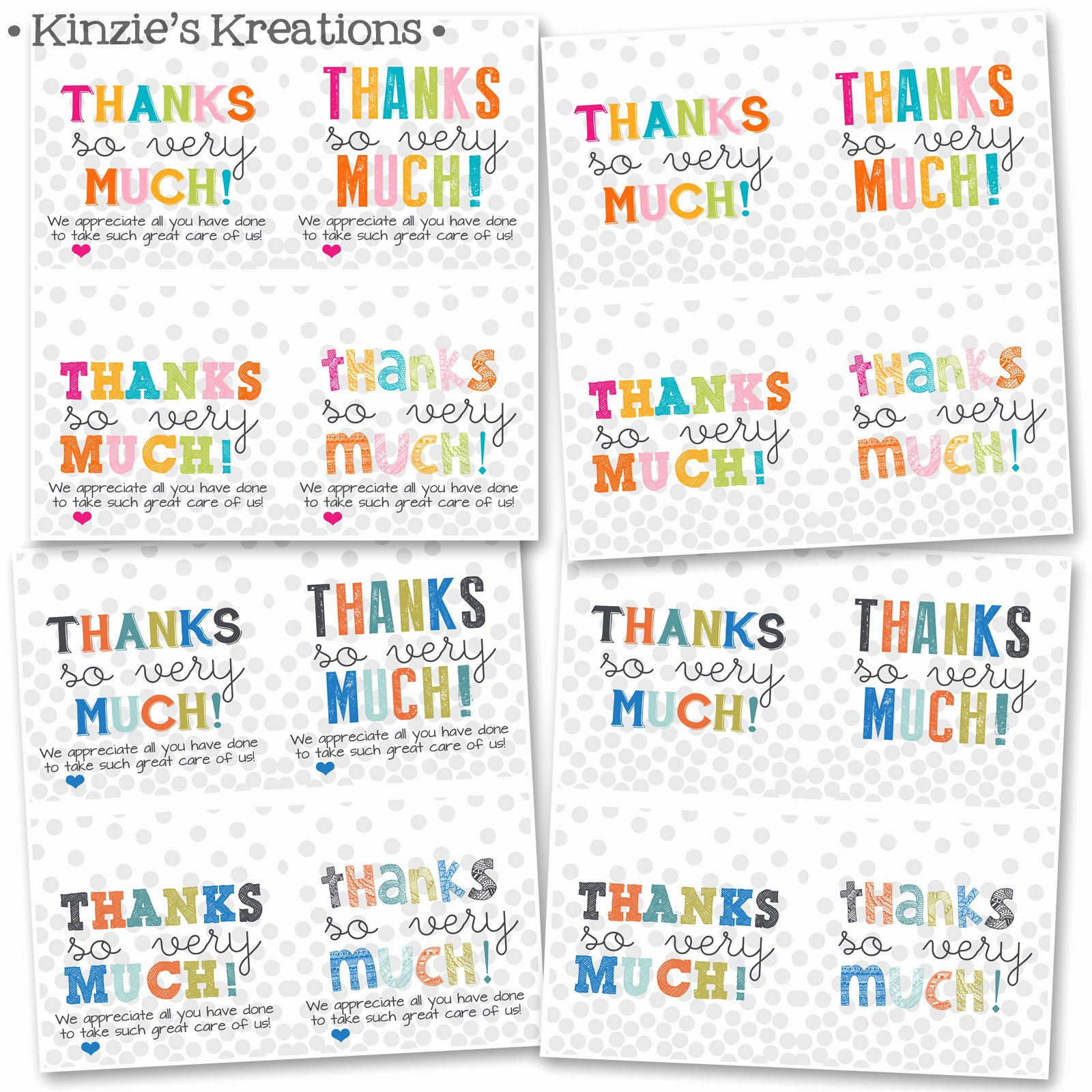 Printable Thank You Tags Lovely Kinzie S Kreations Hospital Thank You Cards