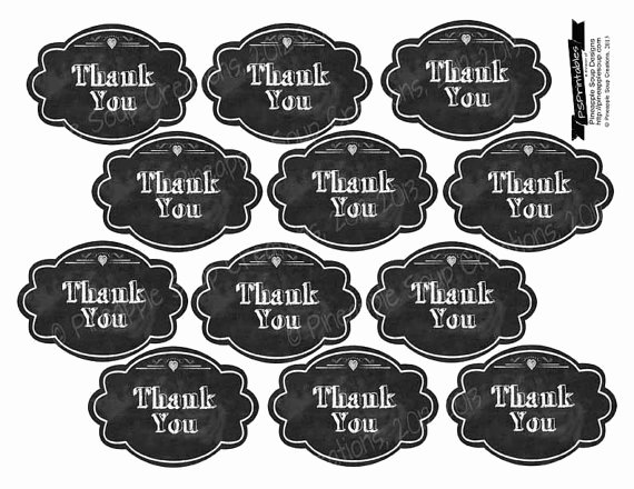 Printable Thank You Tags Lovely Printable Thank You Chalkboard Tags 2x3 Instant