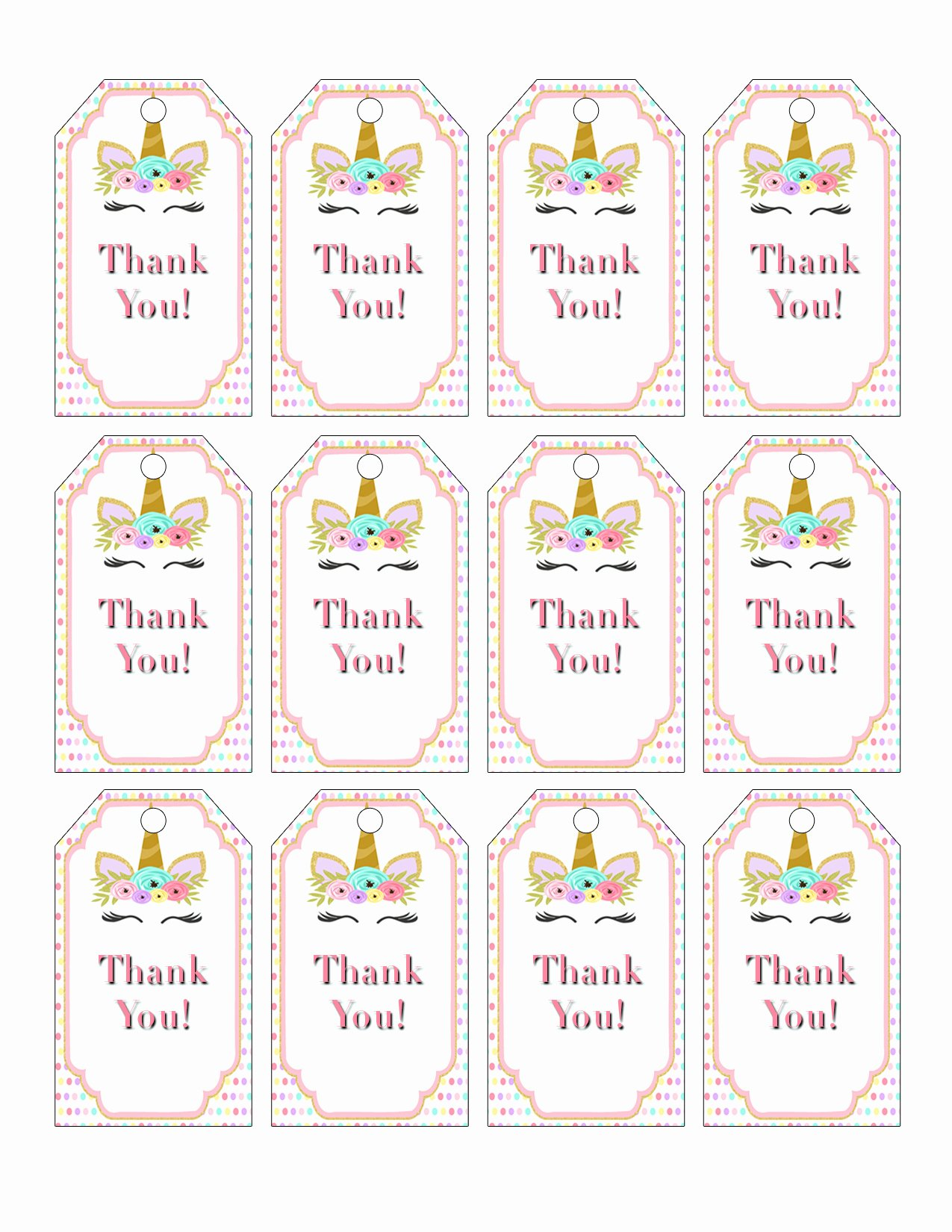 Printable Thank You Tags Lovely Printable Unicorn Party Favor Tags for A Unicorn Birthday
