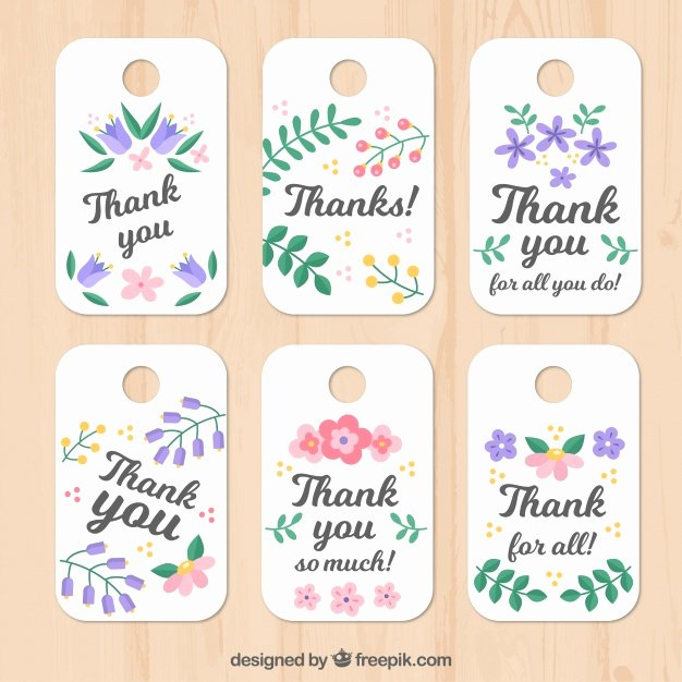 Printable Thank You Tags Lovely Set Of Floral Thank You Tags Vector