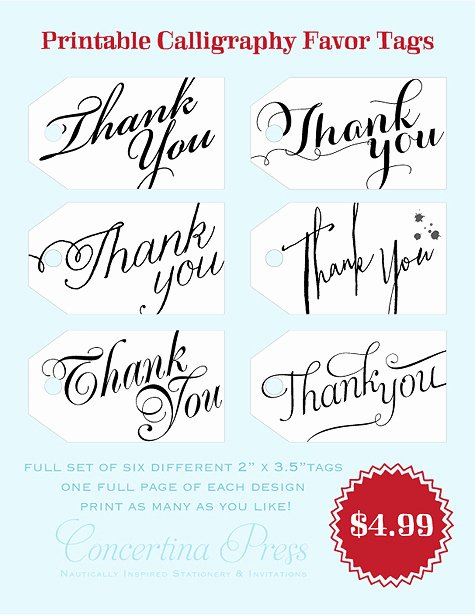 Printable Thank You Tags Luxury Concertina Press Stationery and Invitations Diy