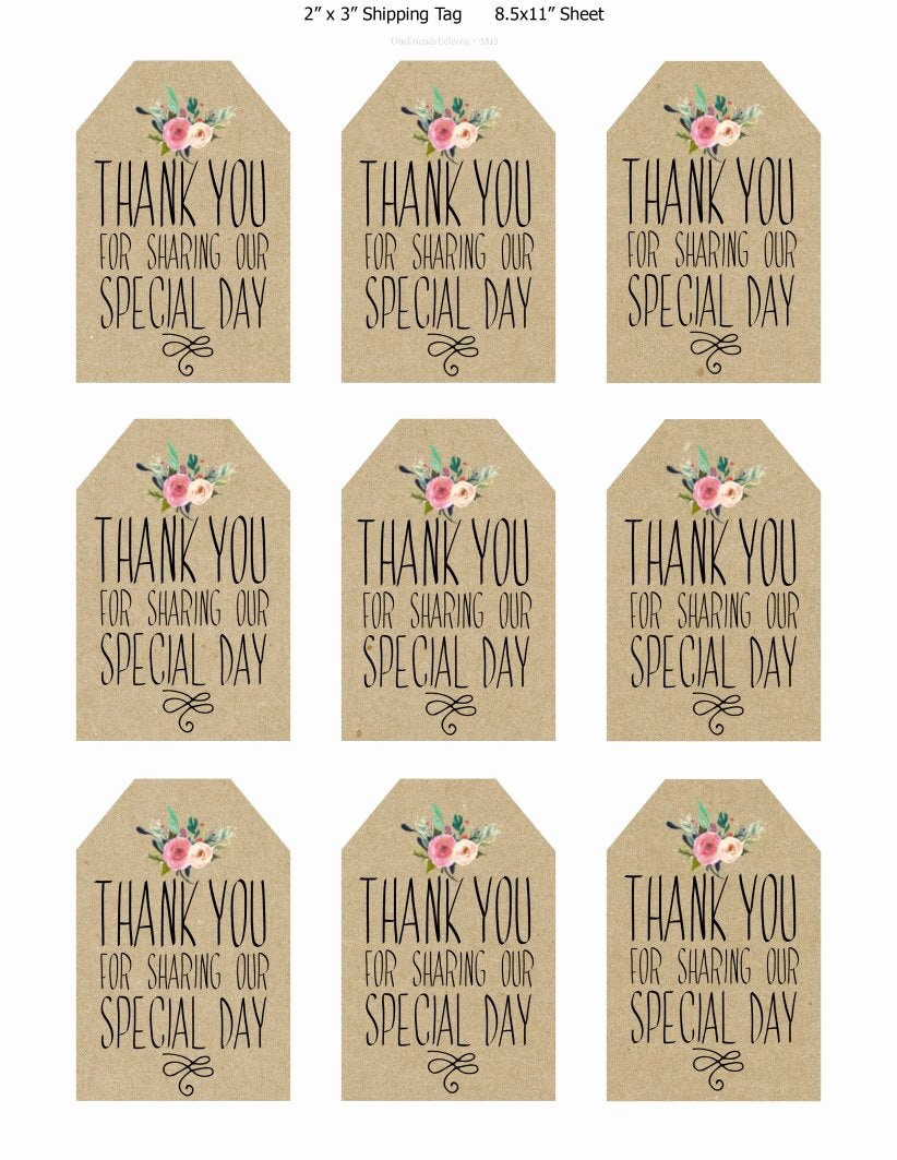 printable wedding favor tags thank you