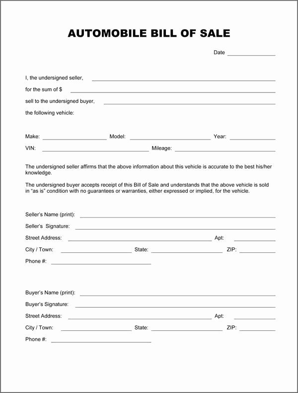 Printable Vehicle Purchase Agreement Awesome Printable Sample Auto Bill Sale form