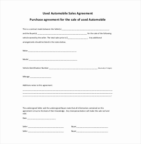 Printable Vehicle Purchase Agreement Awesome Sales Agreement Template Word