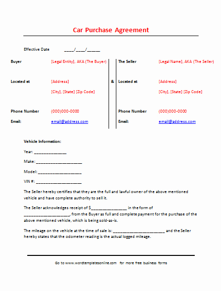 Printable Vehicle Purchase Agreement Best Of Printable Car Purchase Agreement Template for Word