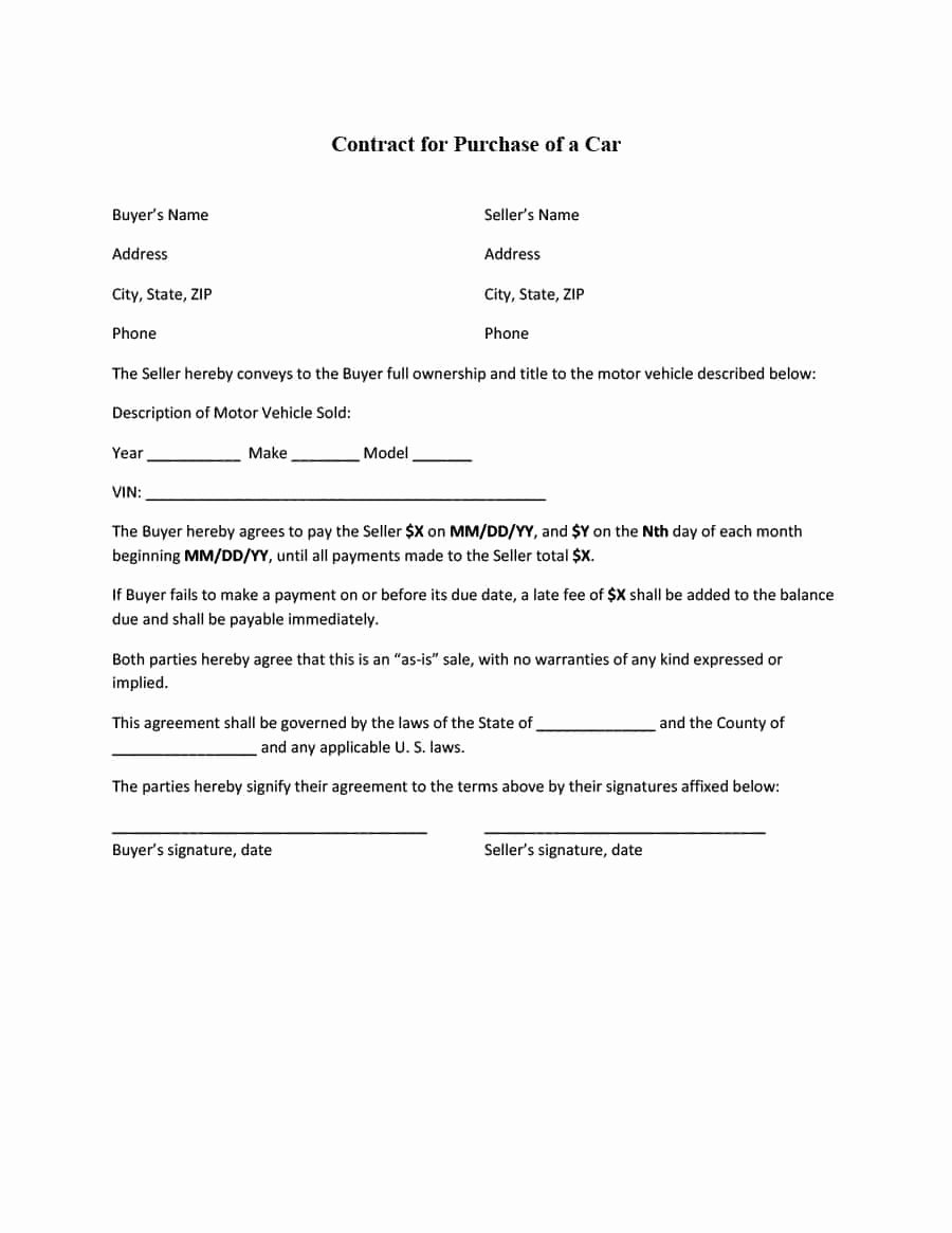 Printable Vehicle Purchase Agreement Elegant 42 Printable Vehicle Purchase Agreement Templates