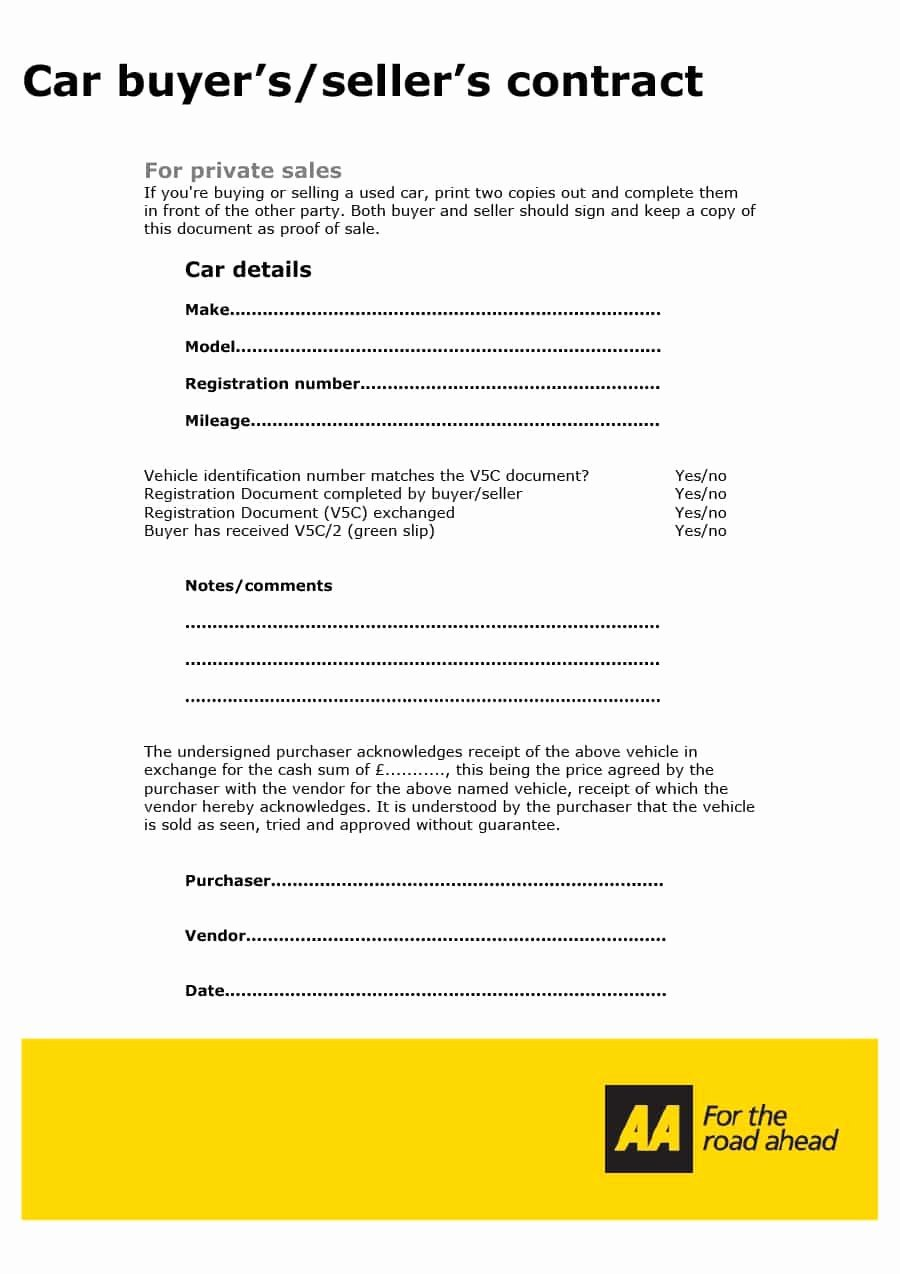 Printable Vehicle Purchase Agreement Fresh 42 Printable Vehicle Purchase Agreement Templates
