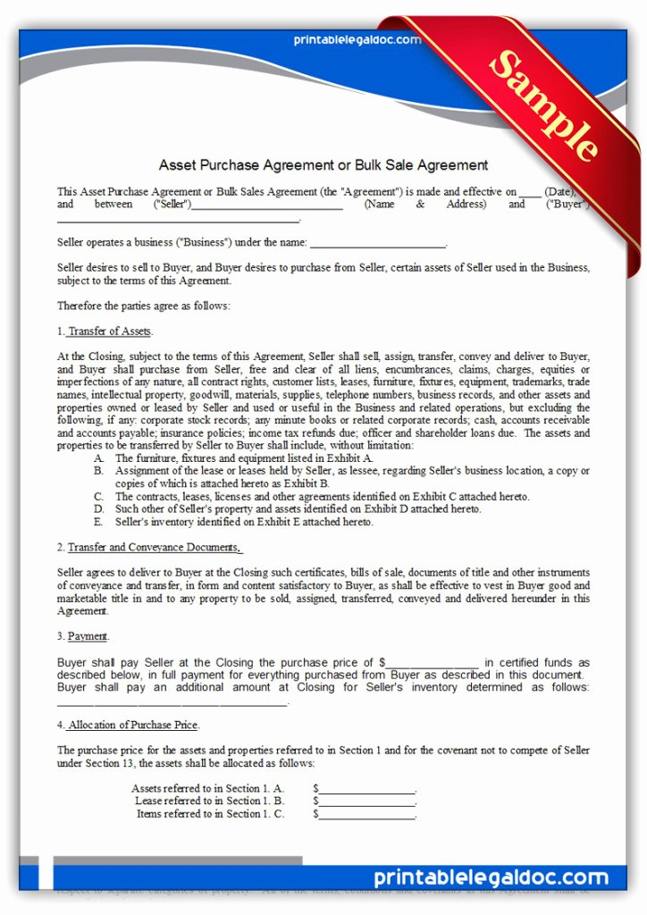 Printable Vehicle Purchase Agreement Fresh Free Printable asset Purchase Agreement form