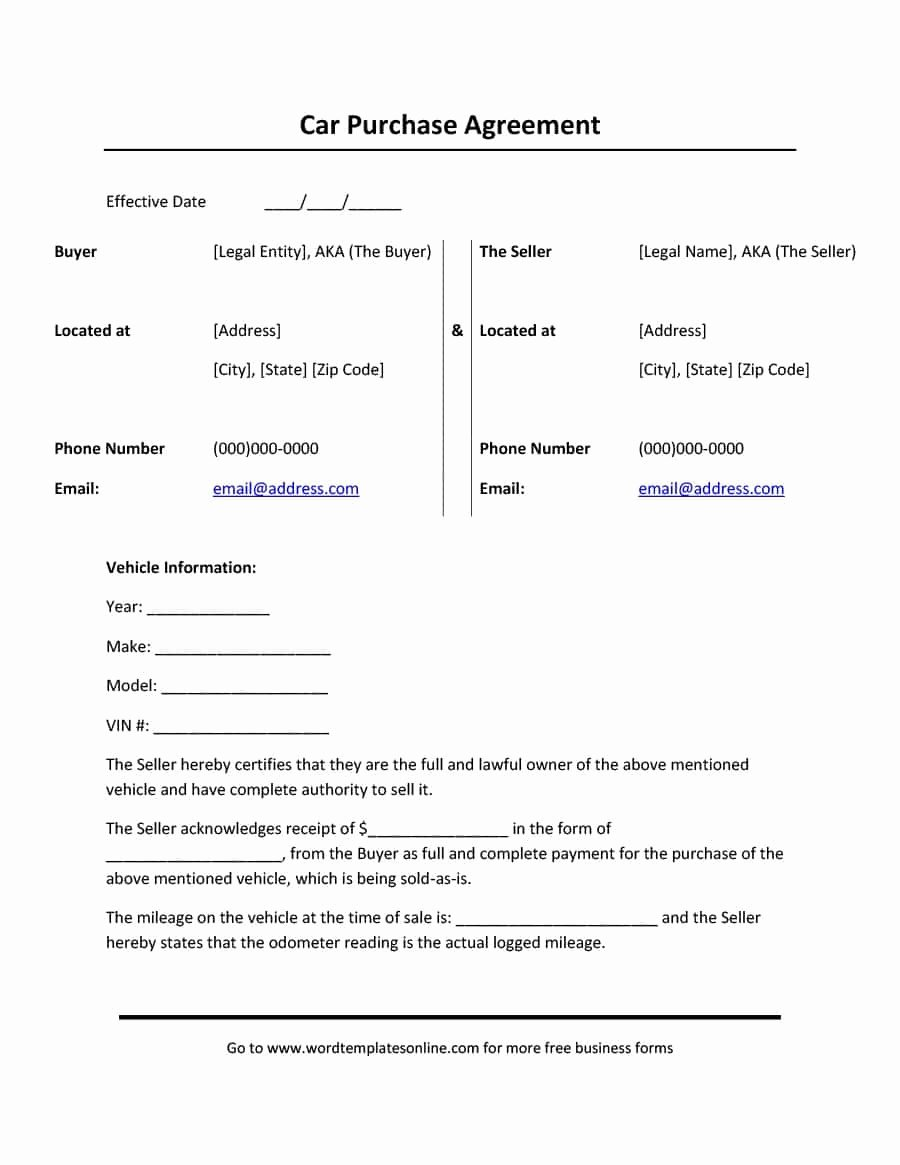 Printable Vehicle Purchase Agreement New 42 Printable Vehicle Purchase Agreement Templates
