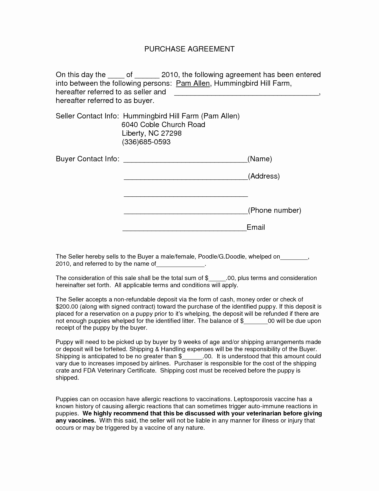 Printable Vehicle Purchase Agreement New Auto Purchase Agreement form Doc by Nyy Purchase