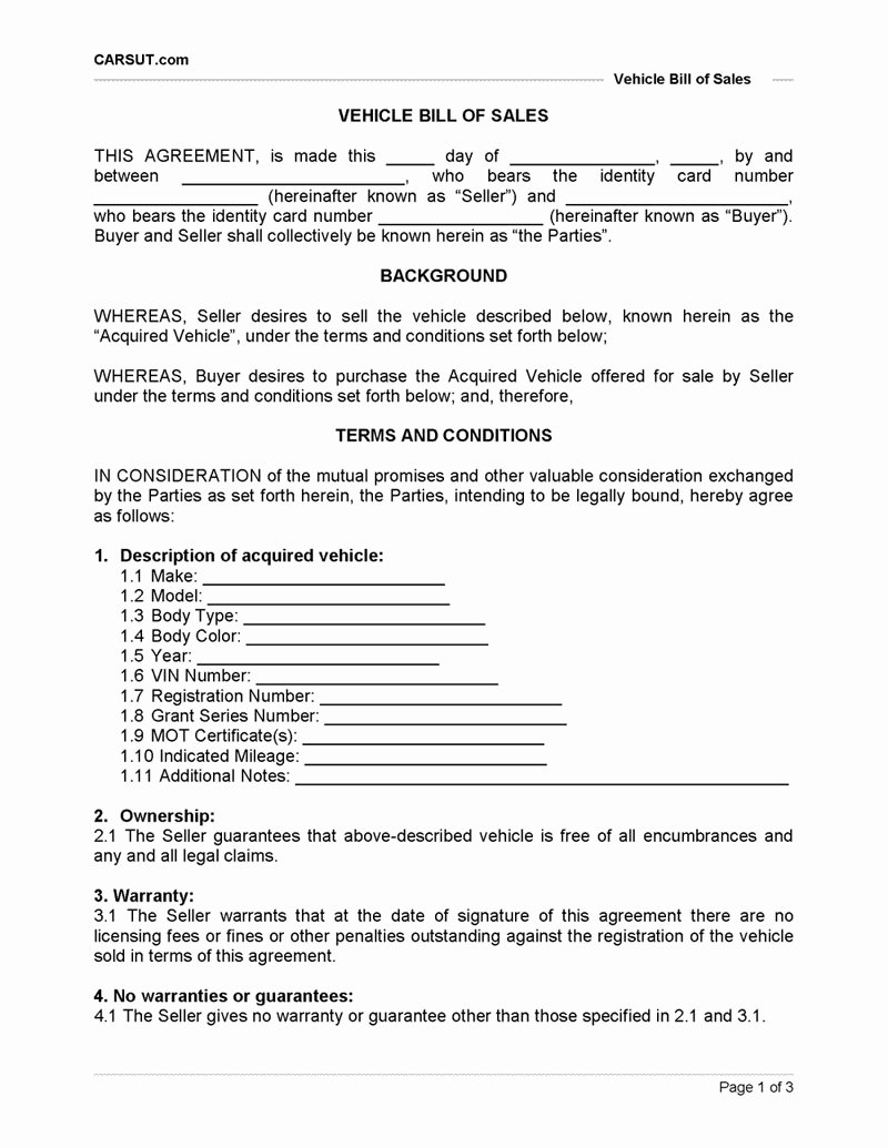 Printable Vehicle Purchase Agreement New Step 9 1 Vehicle Bill Of Sale Printable