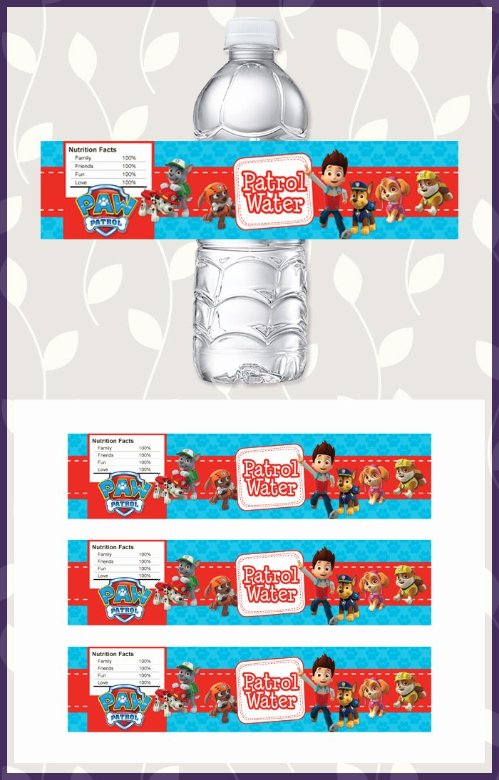 Printable Water Bottle Labels Awesome Free Printable Paw Patrol Water Bottle Labels