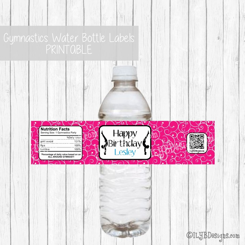 Printable Water Bottle Labels Beautiful Gymnastics Party Water Bottle Labels Customized Printable
