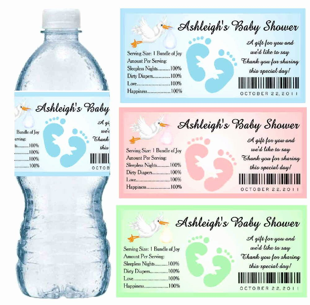Printable Water Bottle Labels Best Of 30 Baby Shower Water Bottle Labels Glossy Waterproof