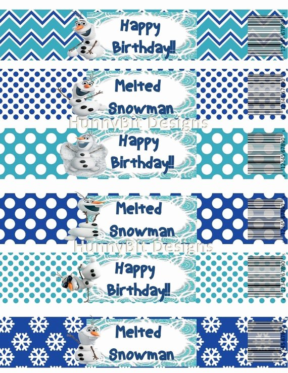 Printable Water Bottle Labels Best Of Disney Frozen Olaf Water Bottle Labels Printable