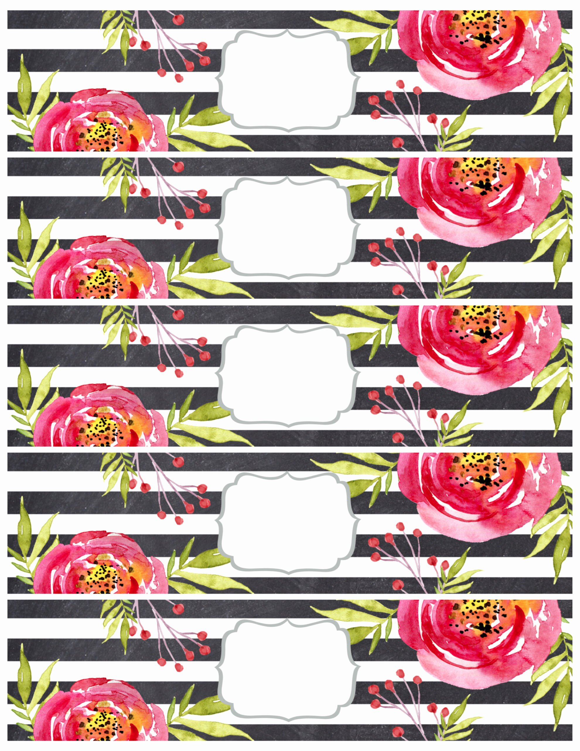 Printable Water Bottle Labels Best Of Flower Water Bottle Labels Free Printable Paper Trail Design