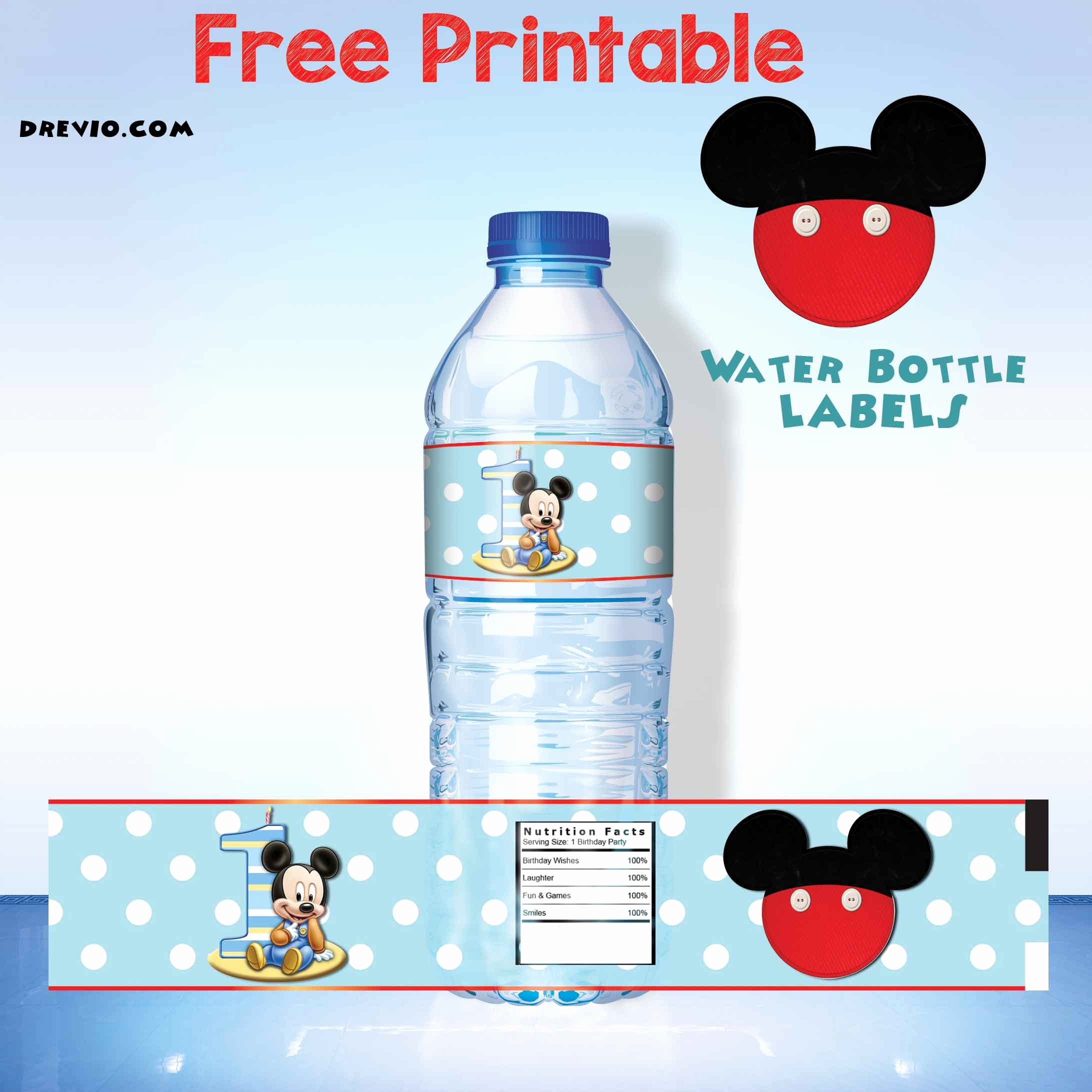 Printable Water Bottle Labels Best Of Free Mickey Mouse Clubhouse 1st Birthday Invitations