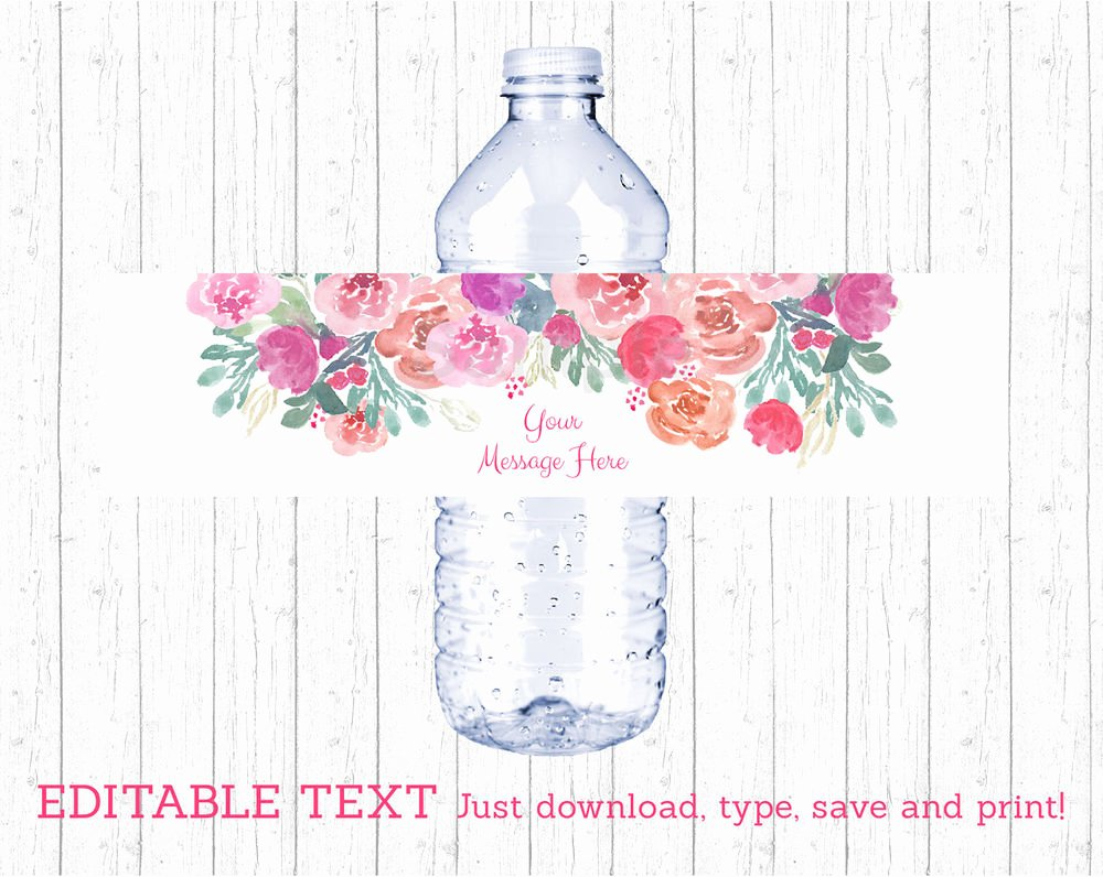 Printable Water Bottle Labels Inspirational Pink Watercolor Flowers Water Bottle Labels Printable