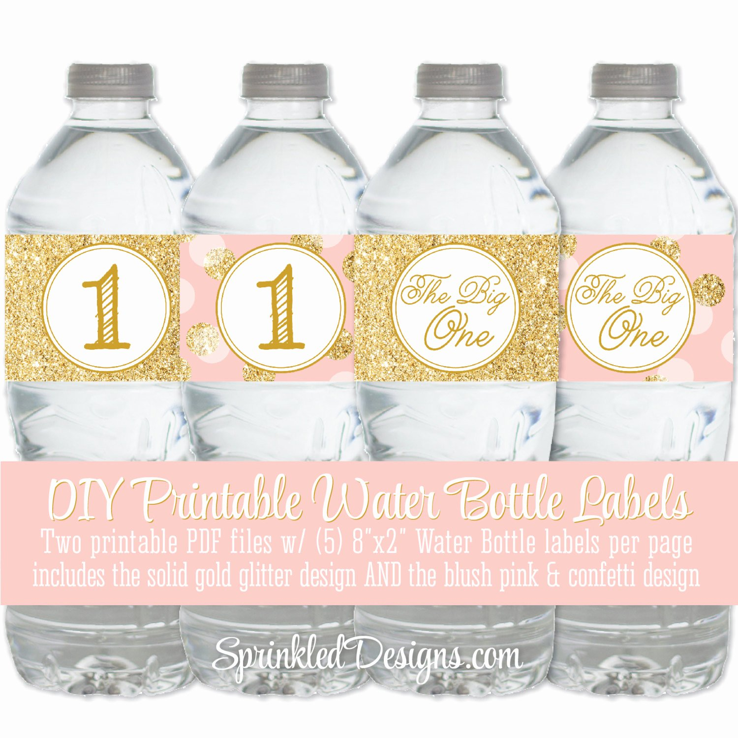 Printable Water Bottle Labels Inspirational Printable Water Bottle Labels Drink Wraps Wrappers Blush