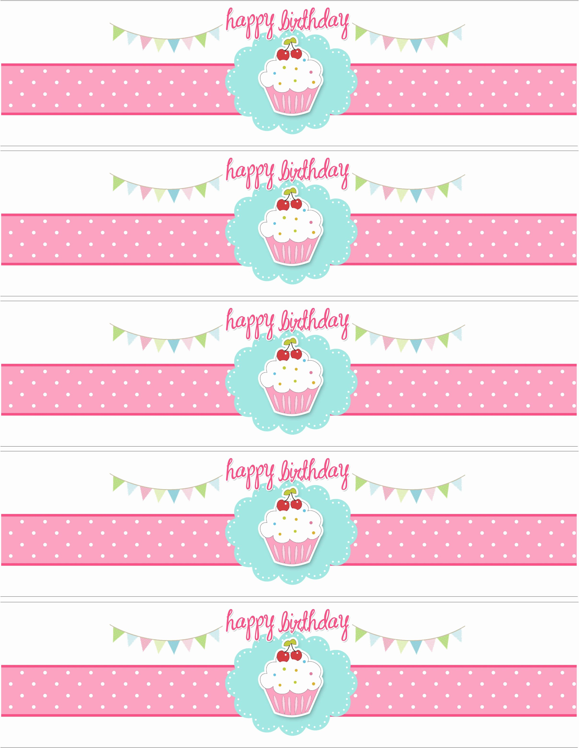 Printable Water Bottle Labels Luxury Cupcake Birthday Party with Free Printables How to Nest
