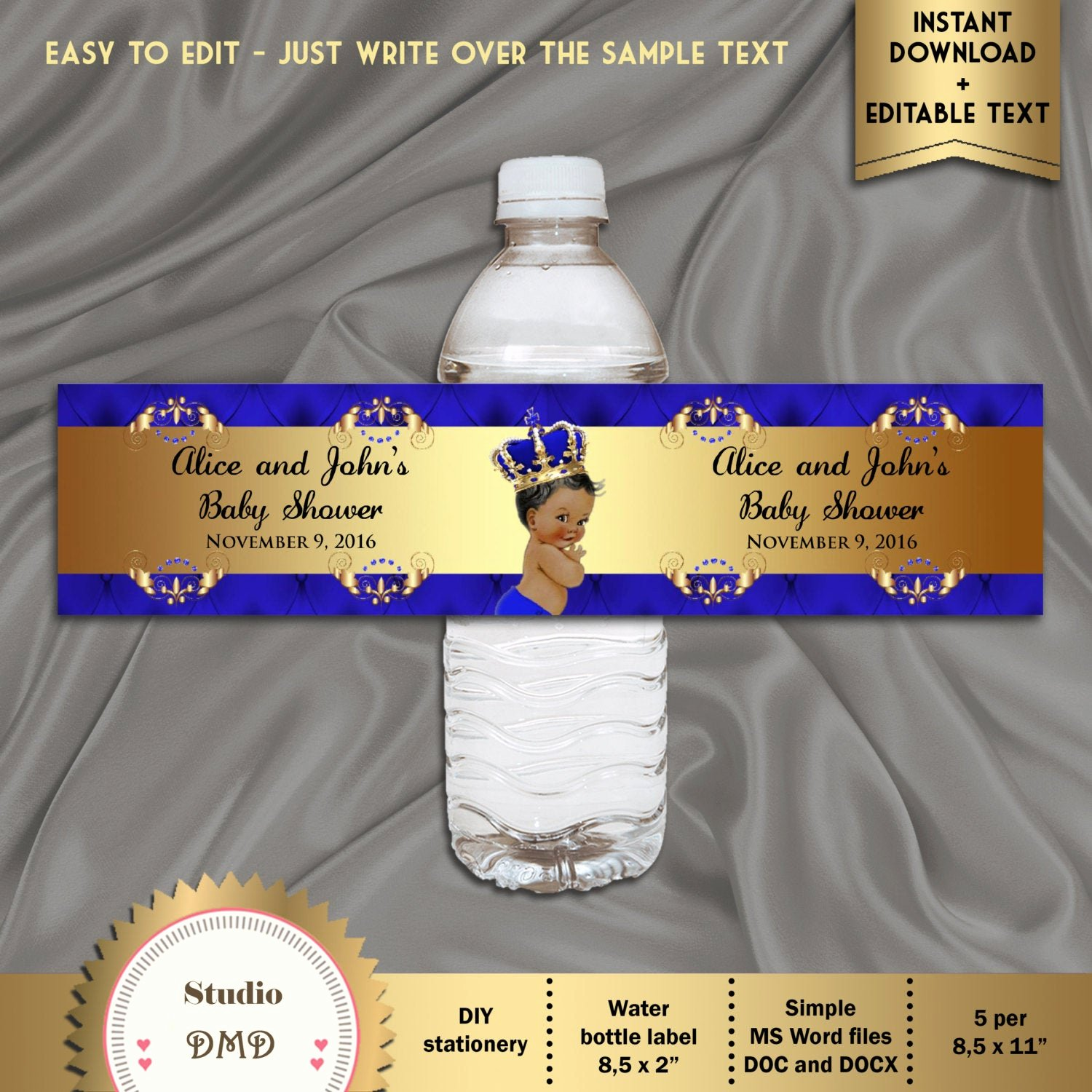 Printable Water Bottle Labels Luxury Printable Baby Shower Water Bottle Labels Royal Baby Shower