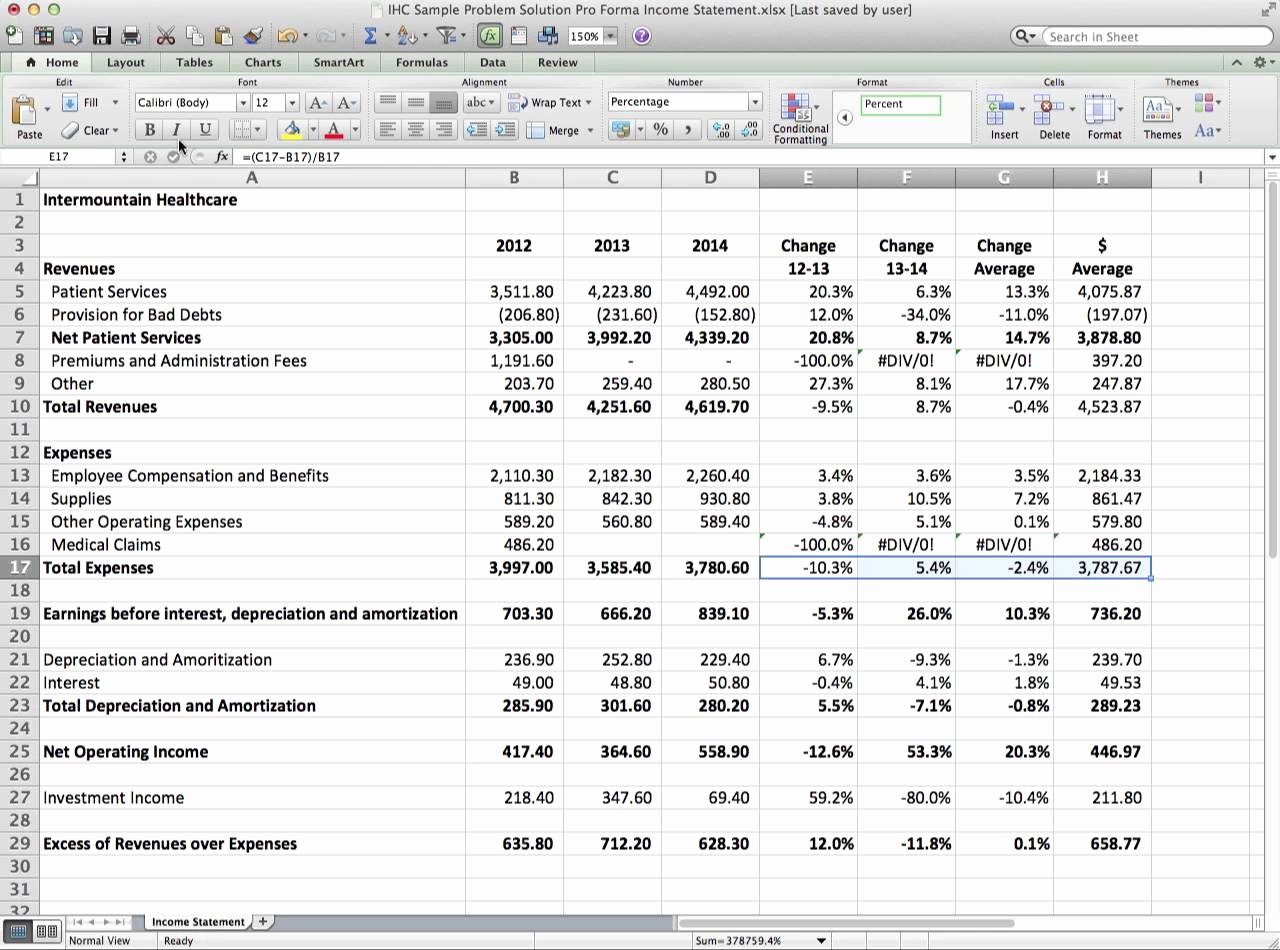 Pro forma Income Statement Example Beautiful Pro forma In E Statement