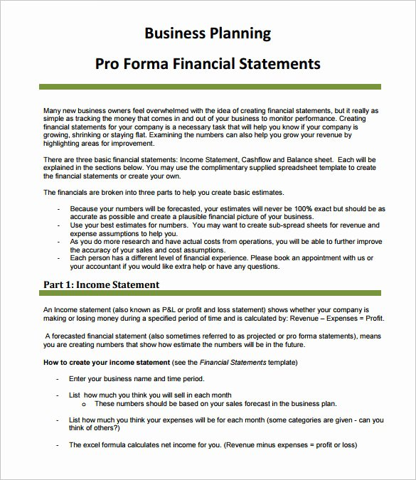 Pro forma Income Statement Example Elegant Sample Proforma In E Statement 9 Documents In Pdf Word