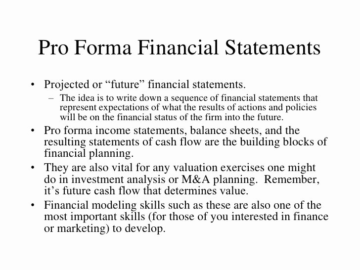 Pro forma Income Statement Example Fresh Pro forma Financial Statements Pro forma Financial Statements