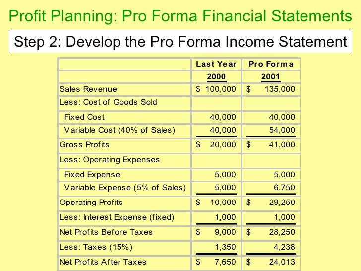 Pro forma Income Statement Example Inspirational Chapter 14