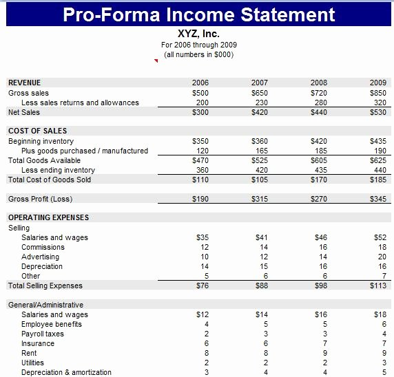 Pro forma Income Statement Example Unique Proforma Balance Sheet Template