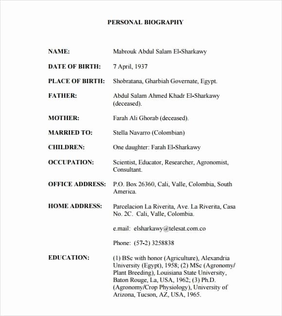 Professional Bio Template Word Beautiful 10 Biography Templates Word Excel Pdf formats