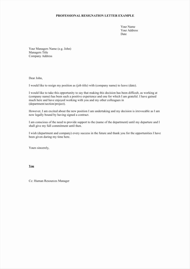 Professional Letter Of Resignation Beautiful 33 Simple Resign Letter Templates Free Word Pdf Excel
