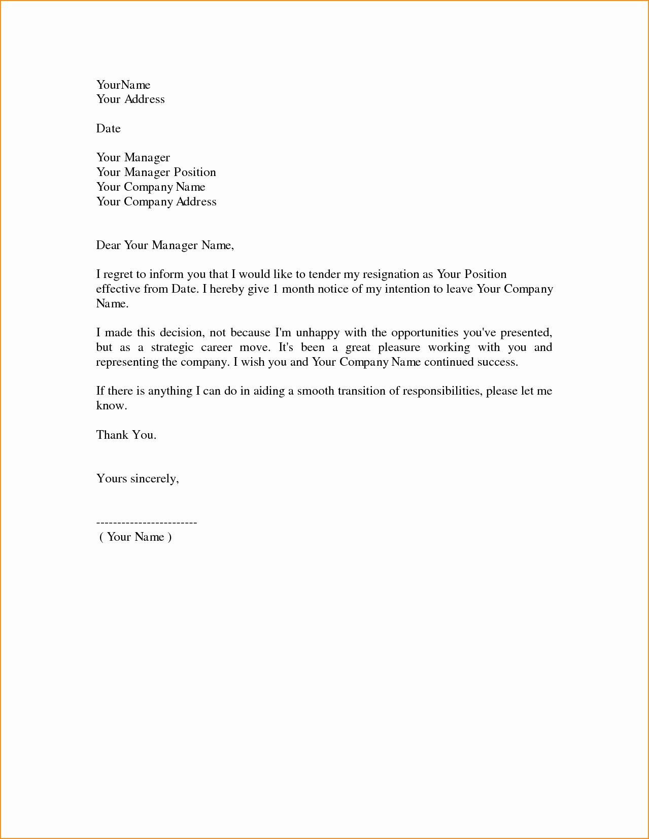 Professional Letter Of Resignation Fresh 8 Professional Resignation Letter Examples Pdf
