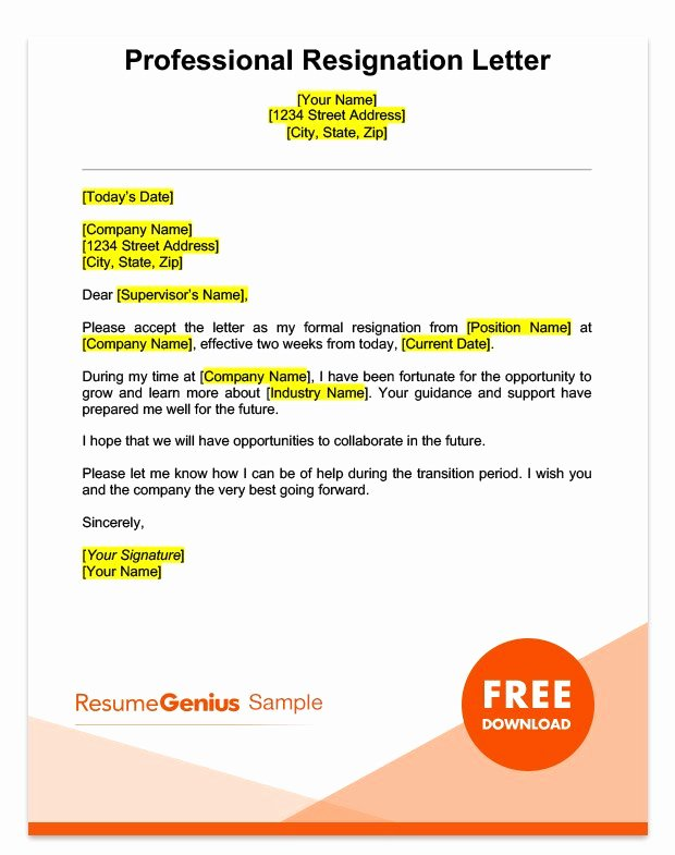 Professional Letter Of Resignation Fresh Two Weeks Notice Letter Sample Free Download