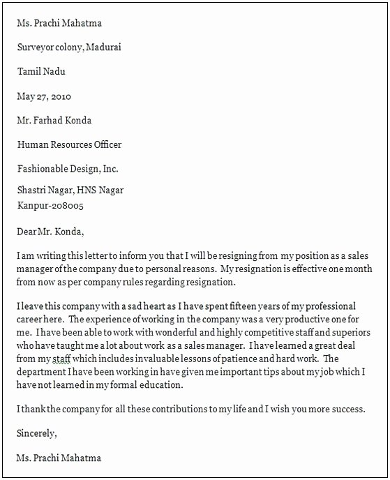 Professional Letter Of Resignation Inspirational Professional Resignation Letter Sample Doc