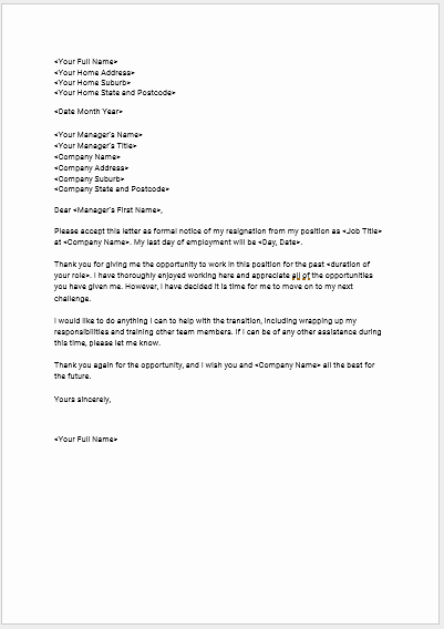 Professional Letter Of Resignation Luxury Download Seek S Free Standard Resignation Letter Template