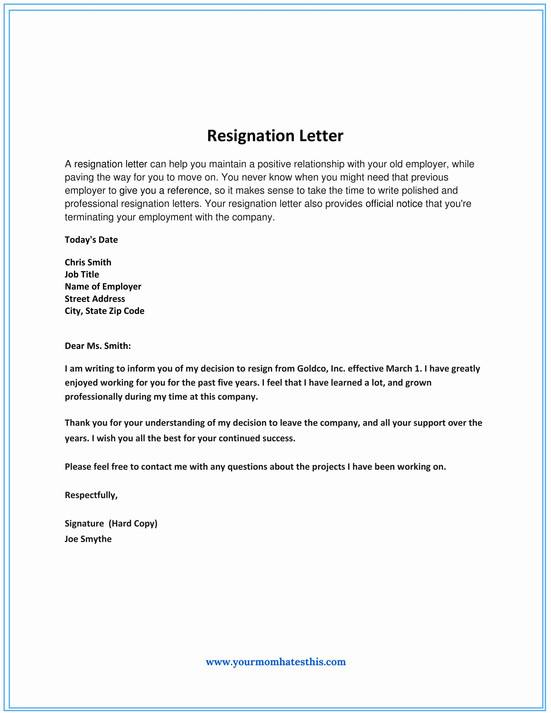 Professional Letter Of Resignation New Dos and Don'ts for A Resignation Letter