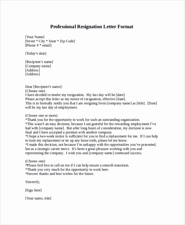 Professional Letter Of Resignation New Professional Letter format Sample 8 Examples In Pdf Word