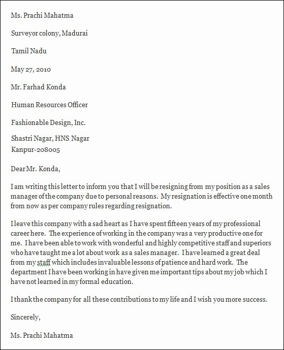 Professional Letter Of Resignation Unique Professional Resignation Letter Sample