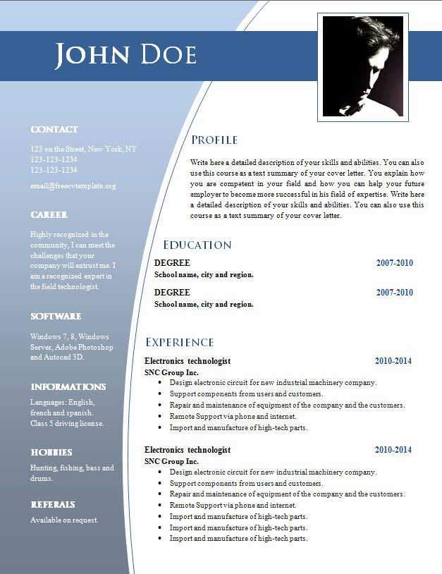 Professional Resume Template Word Elegant Professional Resume format Doc