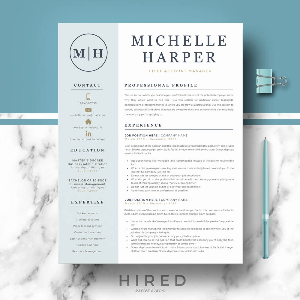 Professional Resume Template Word Luxury Professional & Modern Resume Template for Word and Pages