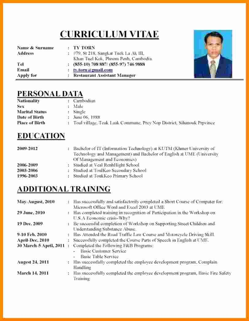 Professional Resume Template Word New 7 Curriculum Vitae Word