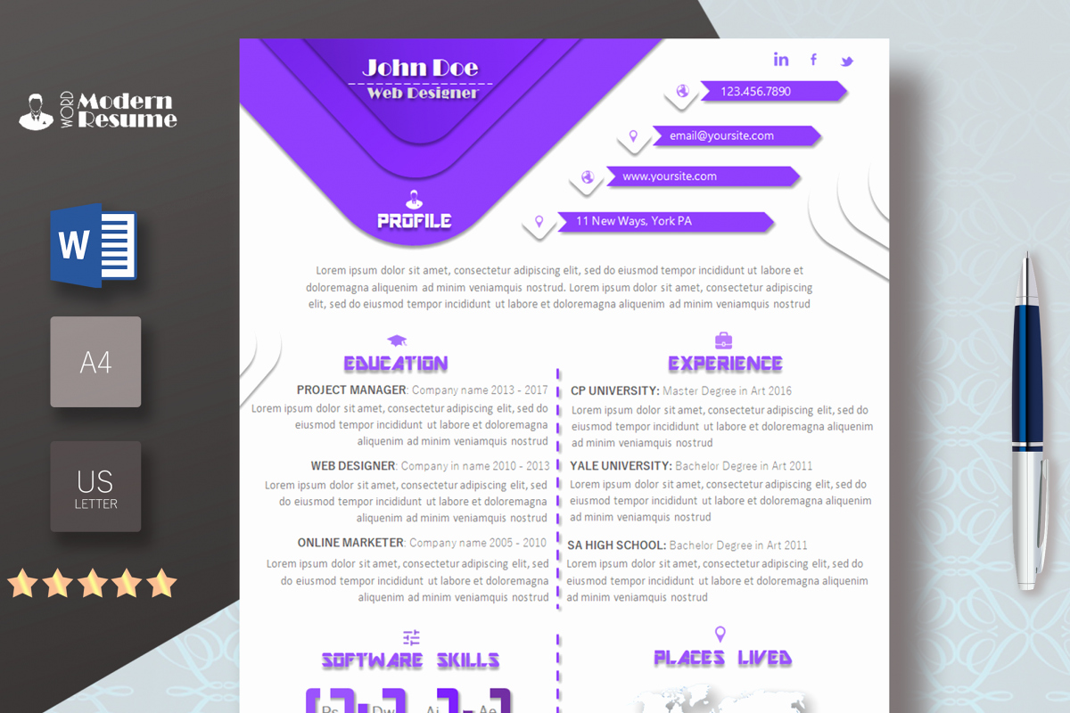 Professional Resume Template Word Unique E Page Resume Template & Cover Letter for Microsoft Word