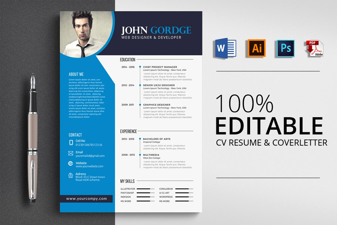 Professional Resume Template Word Unique Professional Job Resume Cv Template Word Vsual