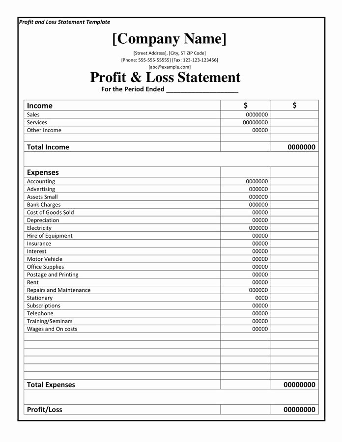 Profit Loss Statement Example Beautiful Profit and Loss Statement Template Doc Pdf Page 1 Of 1